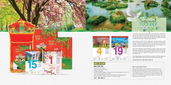 Mẫu lịch bloc Thiên Nhiên Tươi đẹp